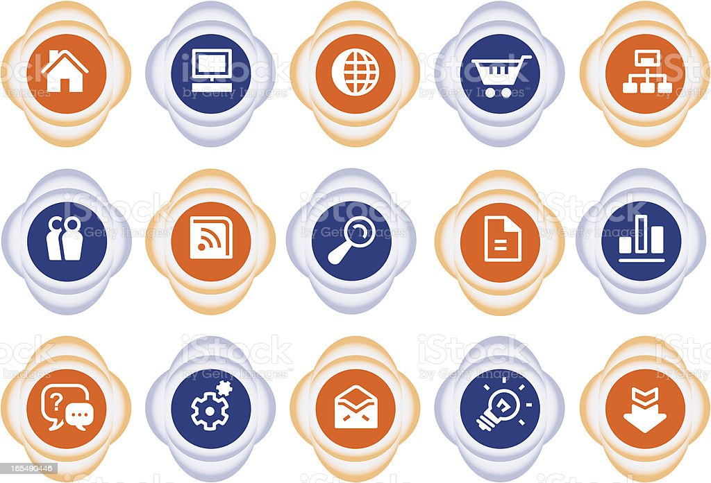 Website Internet icons   black & orange royalty-free stock vector art