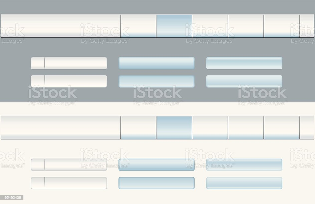 Website menu and buttons in blue gray royalty-free stock vector art