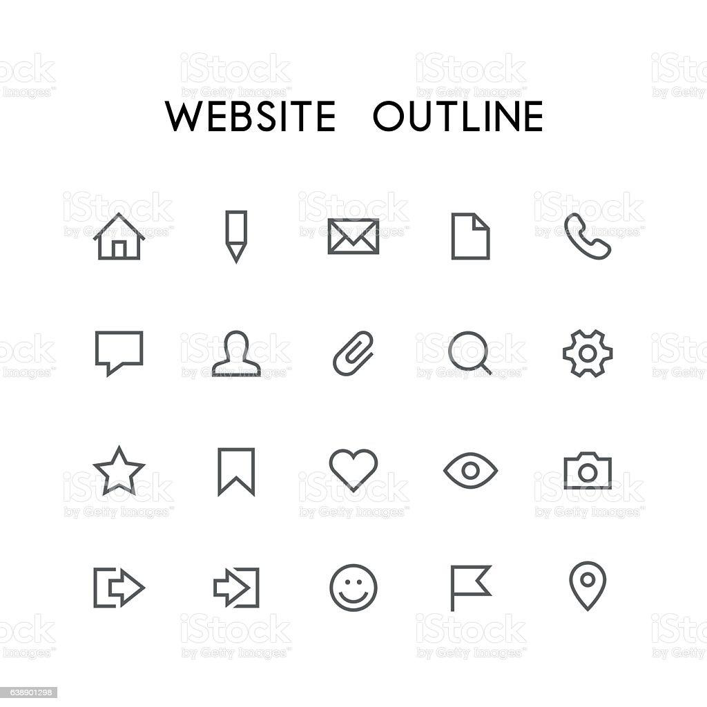 Website outline icon set vector art illustration