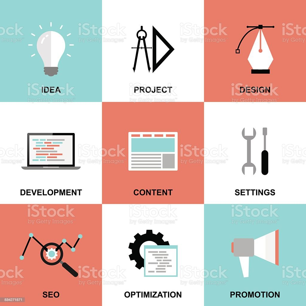 Website project process icons vector art illustration
