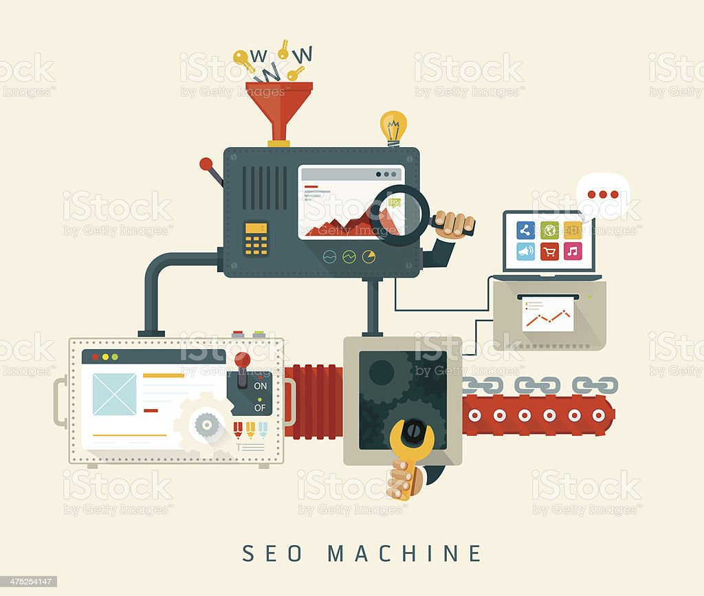 Website SEO machine, process of optimization. vector art illustration