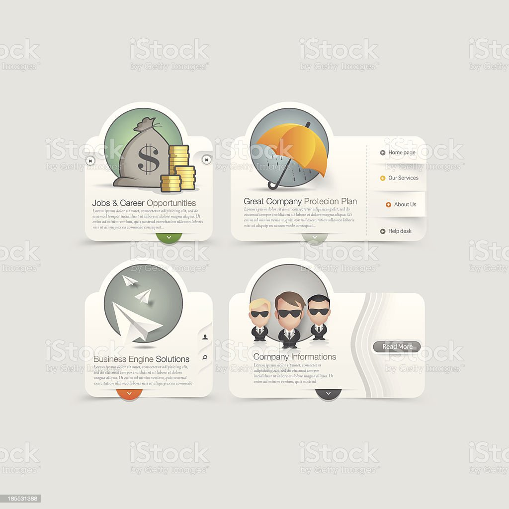 Website  template design menu navigation elements with icons set. royalty-free stock vector art