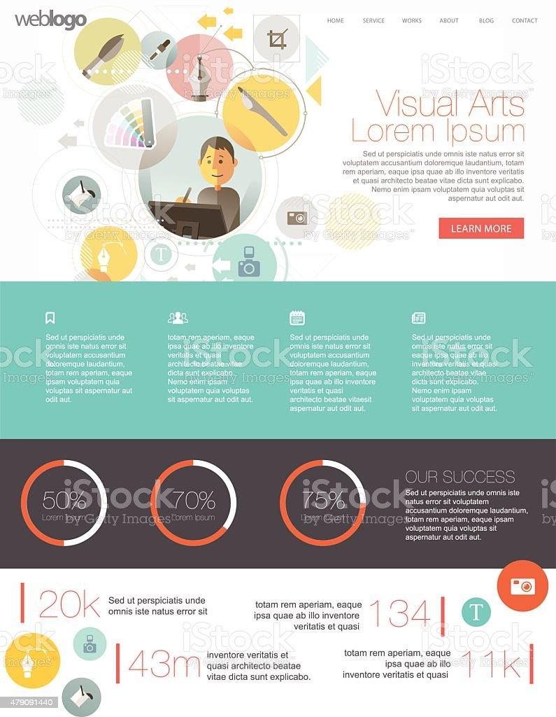 Website template for creative professional vector art illustration