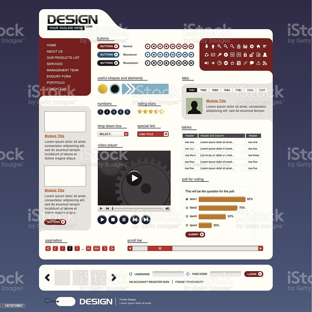 Website Web Design Elements Template royalty-free stock vector art