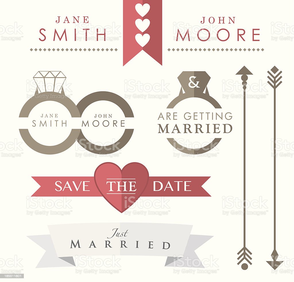 Wedding Accessories and Icons vector art illustration