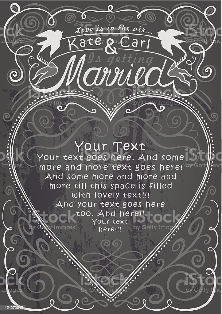 Wedding and engagement party invitation on chalkboard template royalty-free stock vector art