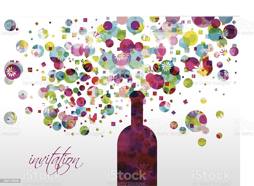 Wedding and invitation card. Champagne bottle with bubbles. vector art illustration