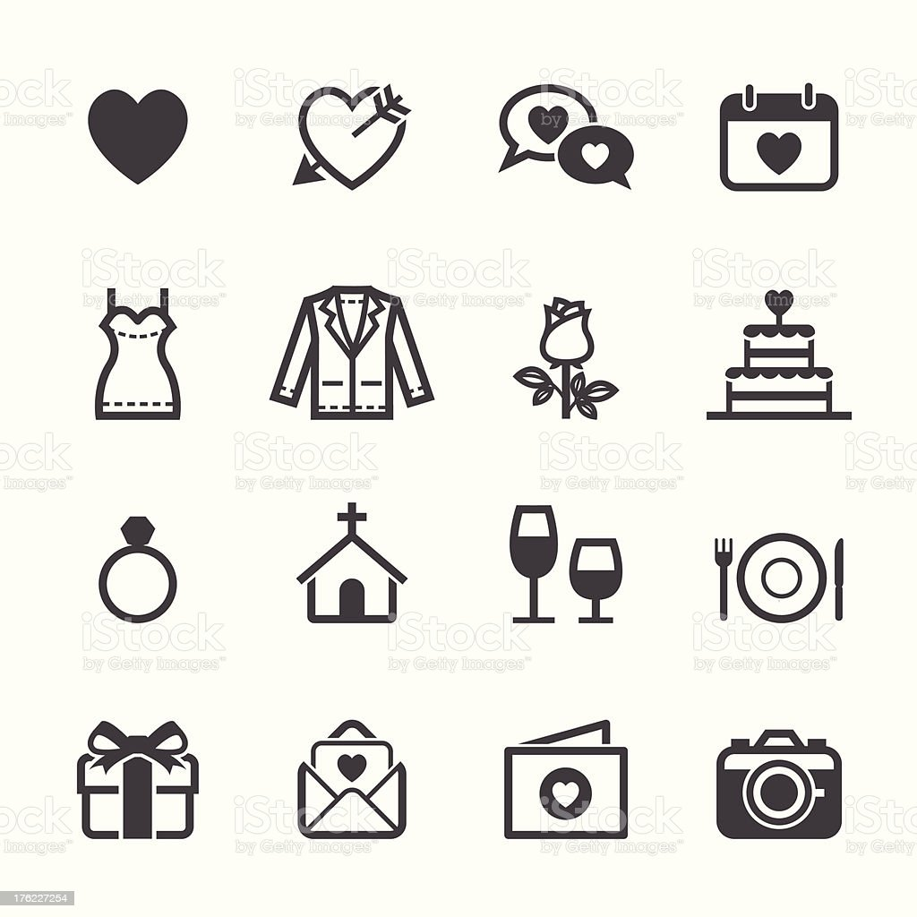 Wedding and Love Icons royalty-free stock vector art