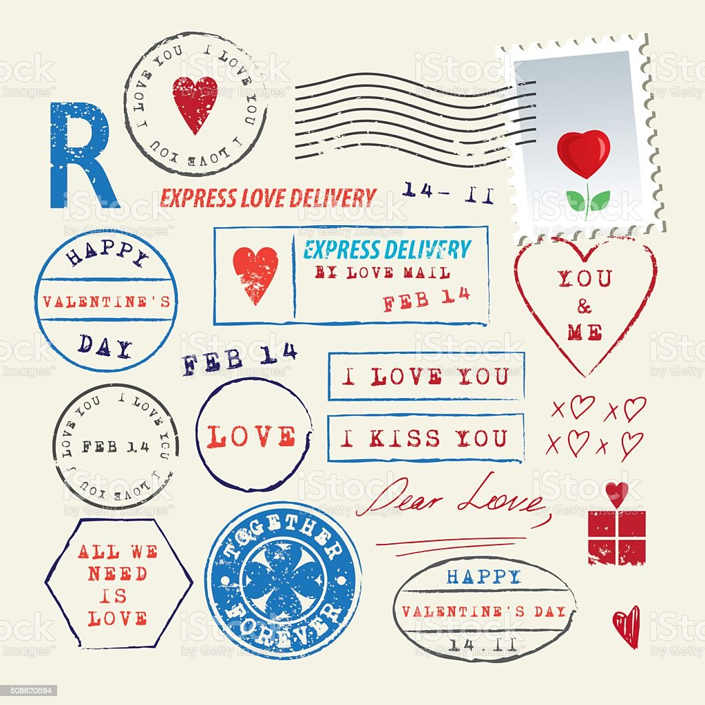 Wedding and Valentine's Day stamp set. Love symbols vector art illustration
