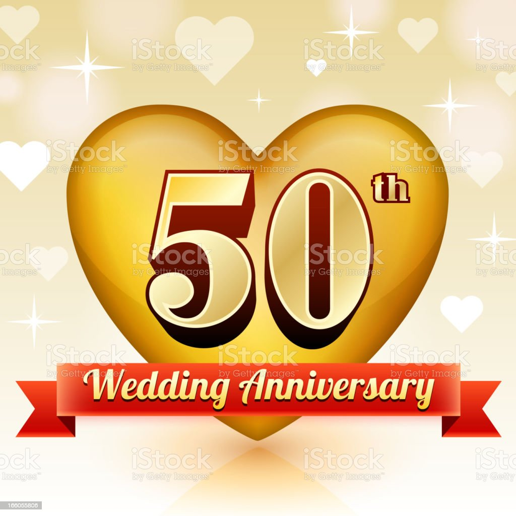 Wedding Anniversary Badge Red and Gold Collection Background royalty-free stock vector art