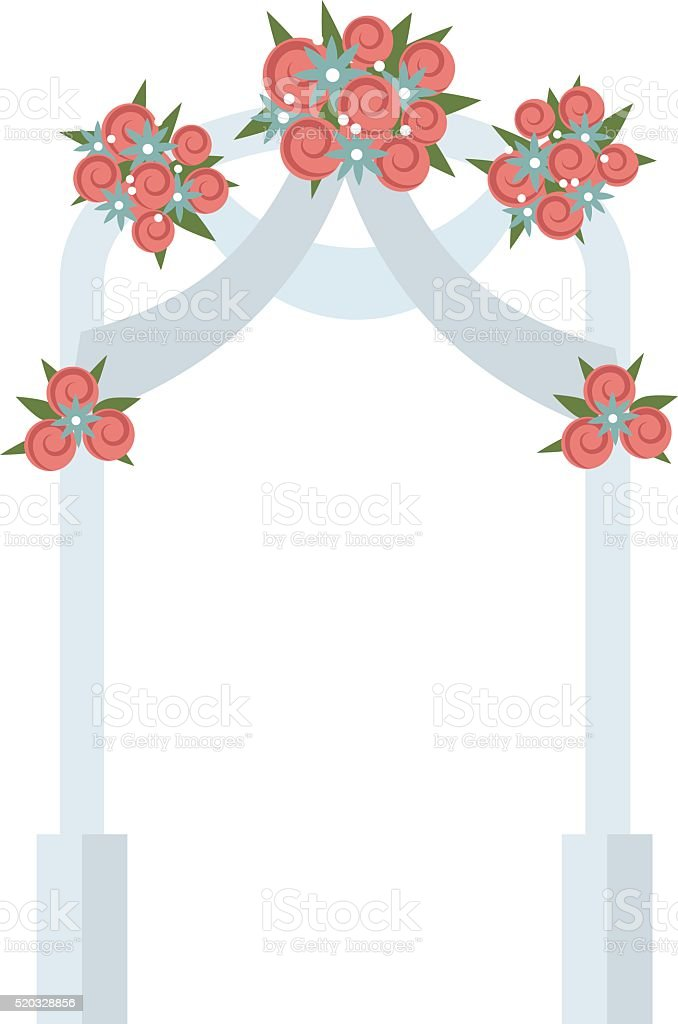 Wedding arch with pink roses vector illustration vector art illustration
