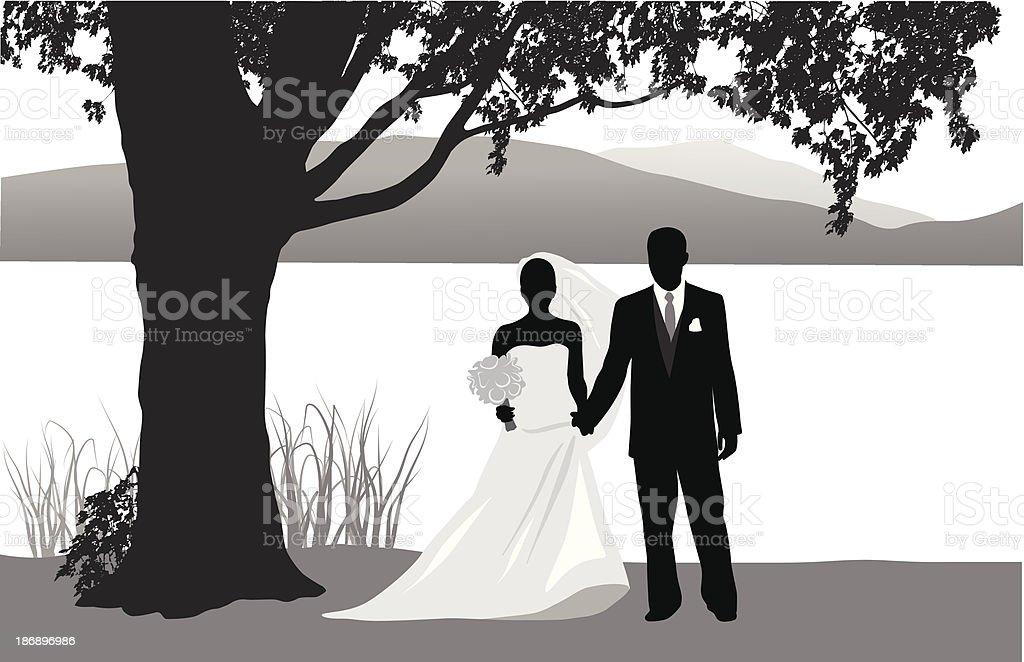 Wedding At The Lake royalty-free stock vector art