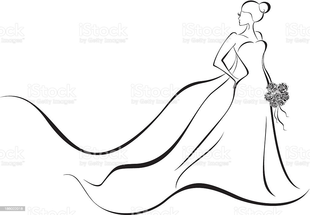 Line Art Wedding : Wedding background bride in floral dress stock vector art