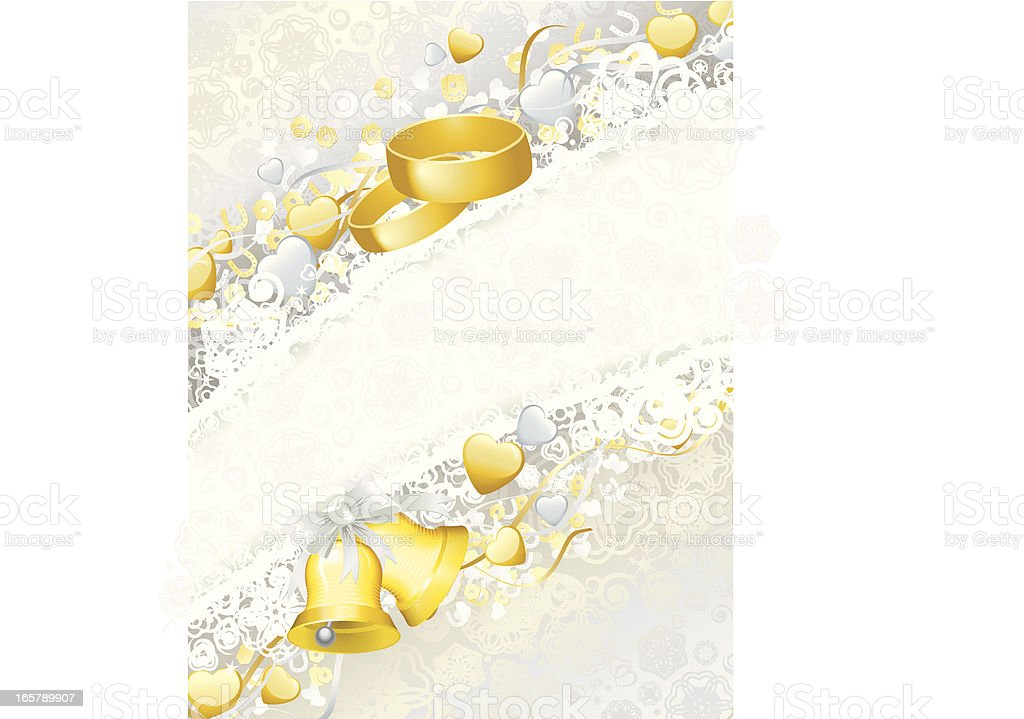 Wedding Background with Bells and Rings, Vertical royalty-free stock vector art