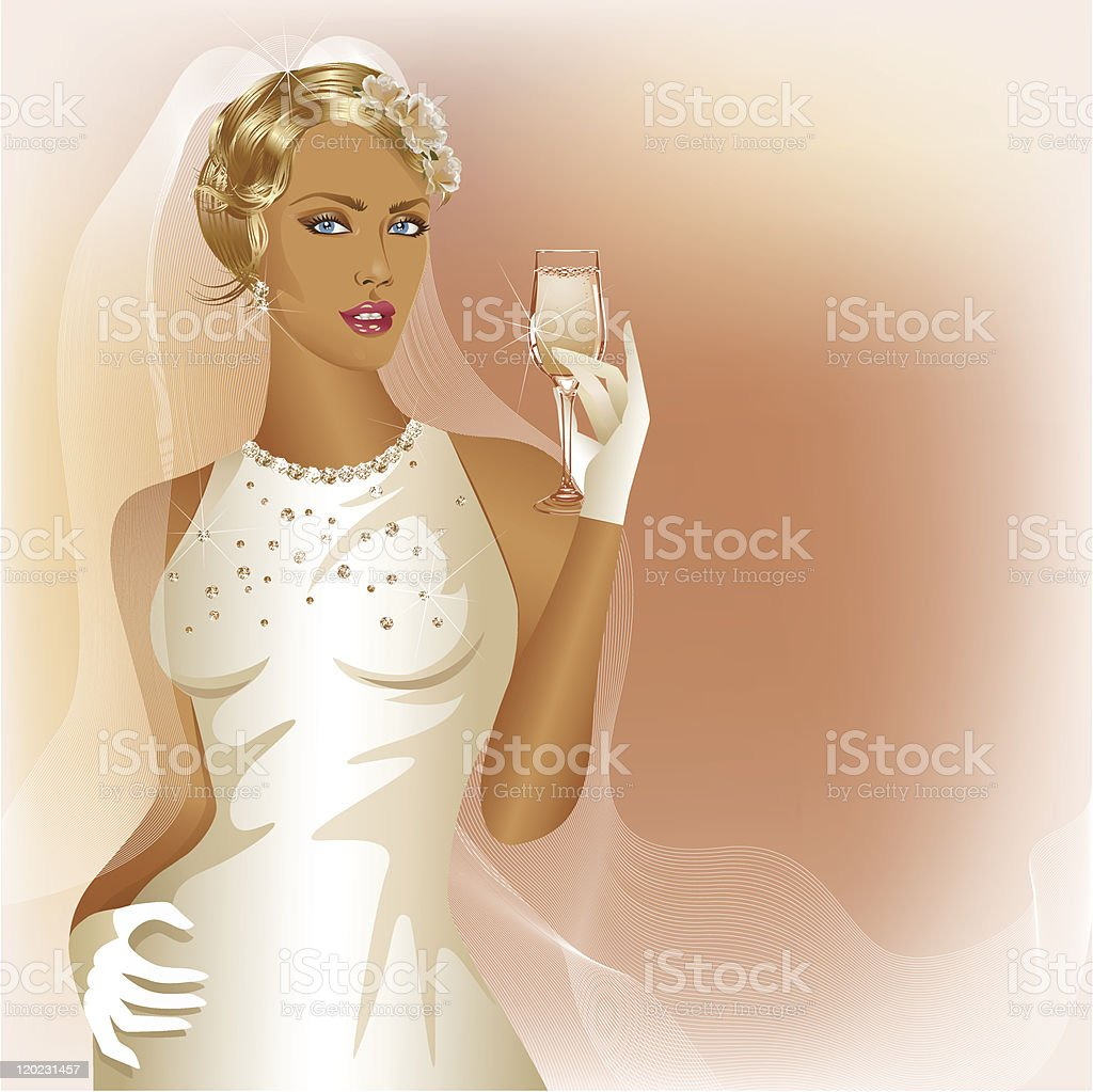 Wedding background with glamour bride holding  champagne wine glass vector art illustration