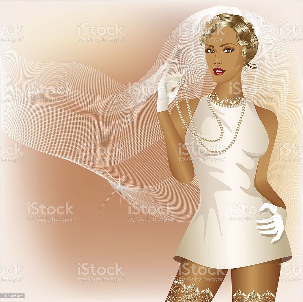 Wedding background with glamour bride in white dress vector art illustration