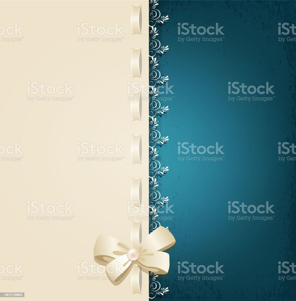 wedding background with lace, satin ribbon and lacing and lacing vector art illustration
