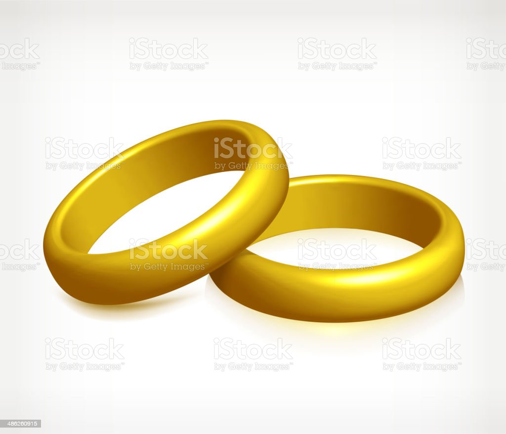 Wedding bands Rings Gold royalty free vector vector art illustration