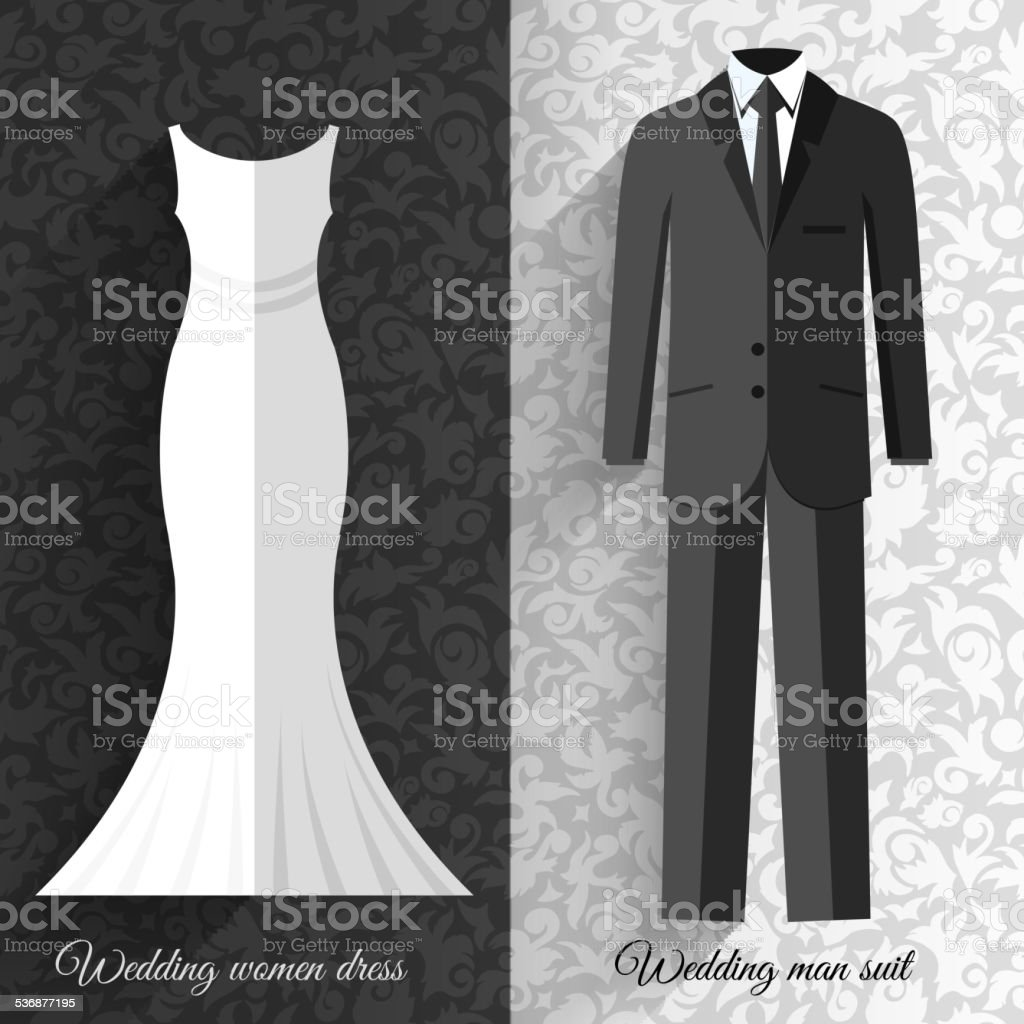 wedding beautiful suits clothing ornamental style card icon set vector art illustration