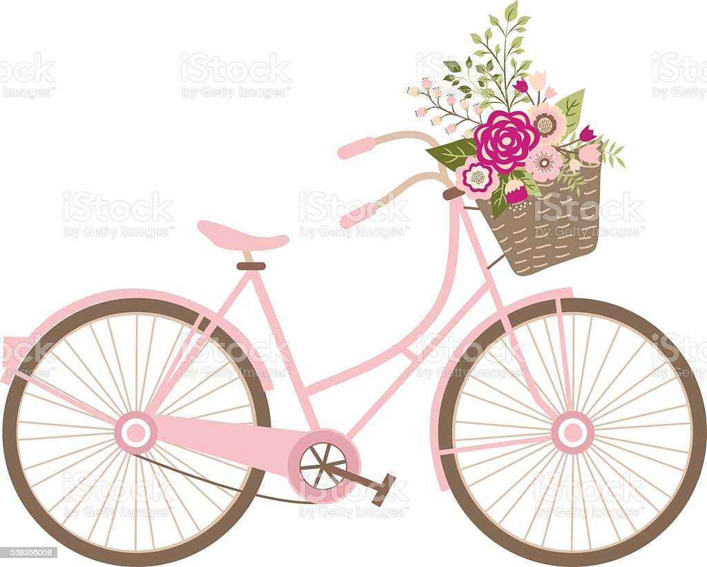 Wedding Bicycle with Flowers vector art illustration