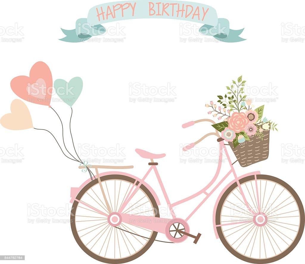 bicicleta de boda con flores de invitacin tarjeta de cumpleaos libre de derechos libre de