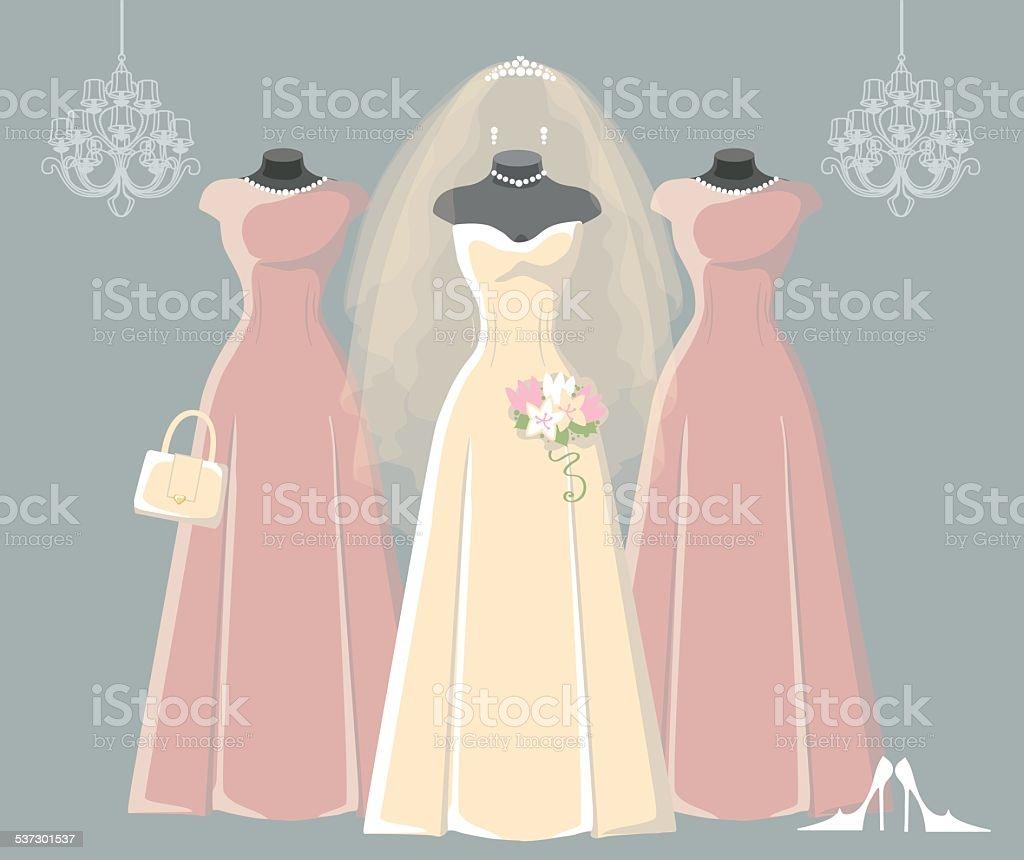 Wedding bridal and bridesmaid dresses set vector art illustration