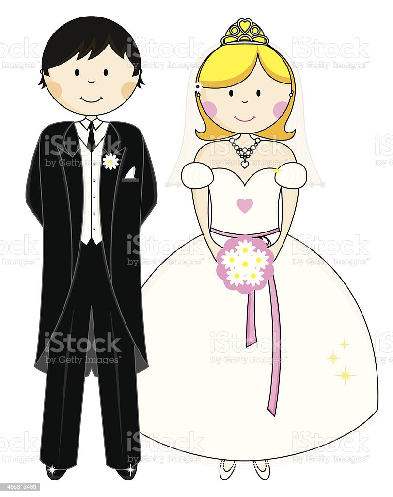 Wedding Bride and Groom Character Icons royalty-free stock vector art