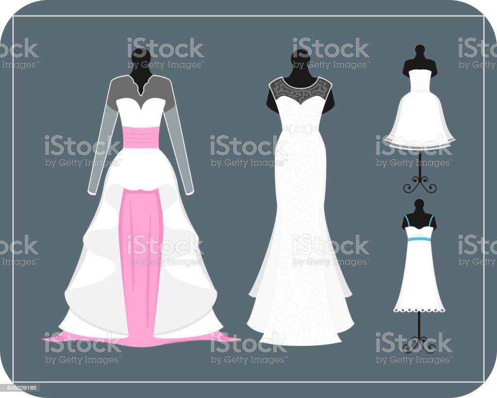Wedding bride dress elegance style celebration vector illustration vector art illustration