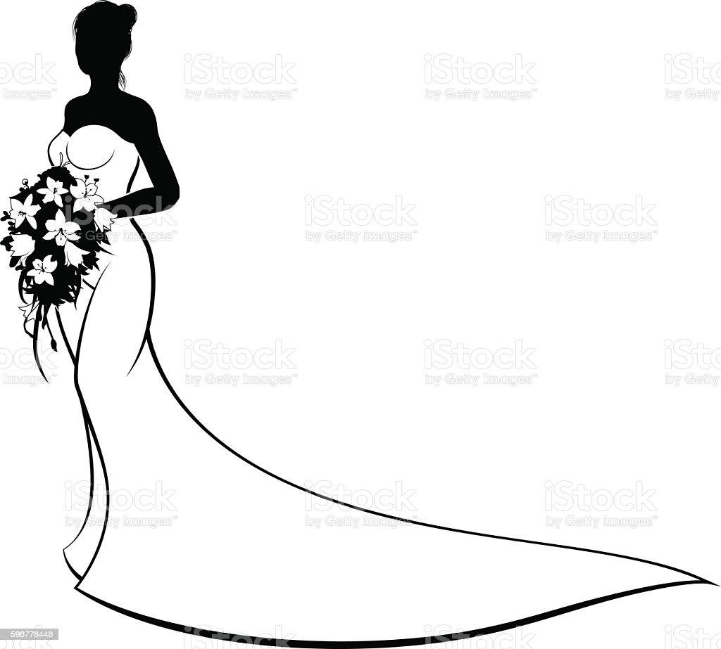 Wedding Bride Silhouette Holding Flowers vector art illustration