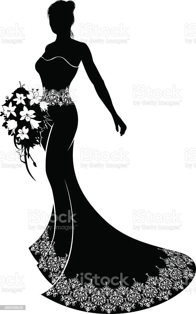 Wedding Bride Silhouette with Bouquet vector art illustration