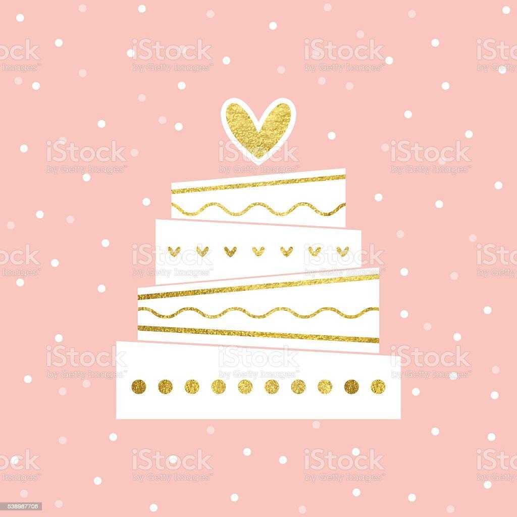 Wedding Cake Card vector art illustration