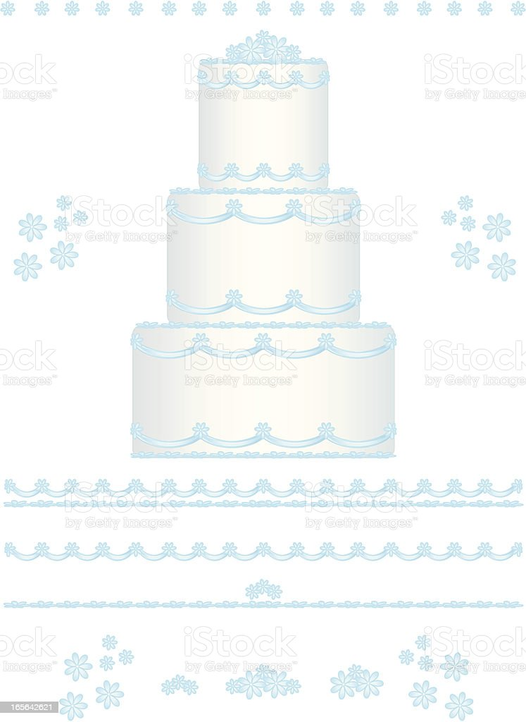 Wedding Cake Design Set with Blue Flowers royalty-free stock vector art