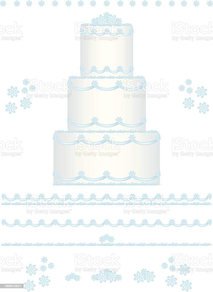Wedding Cake Design Set with Blue Flowers vector art illustration