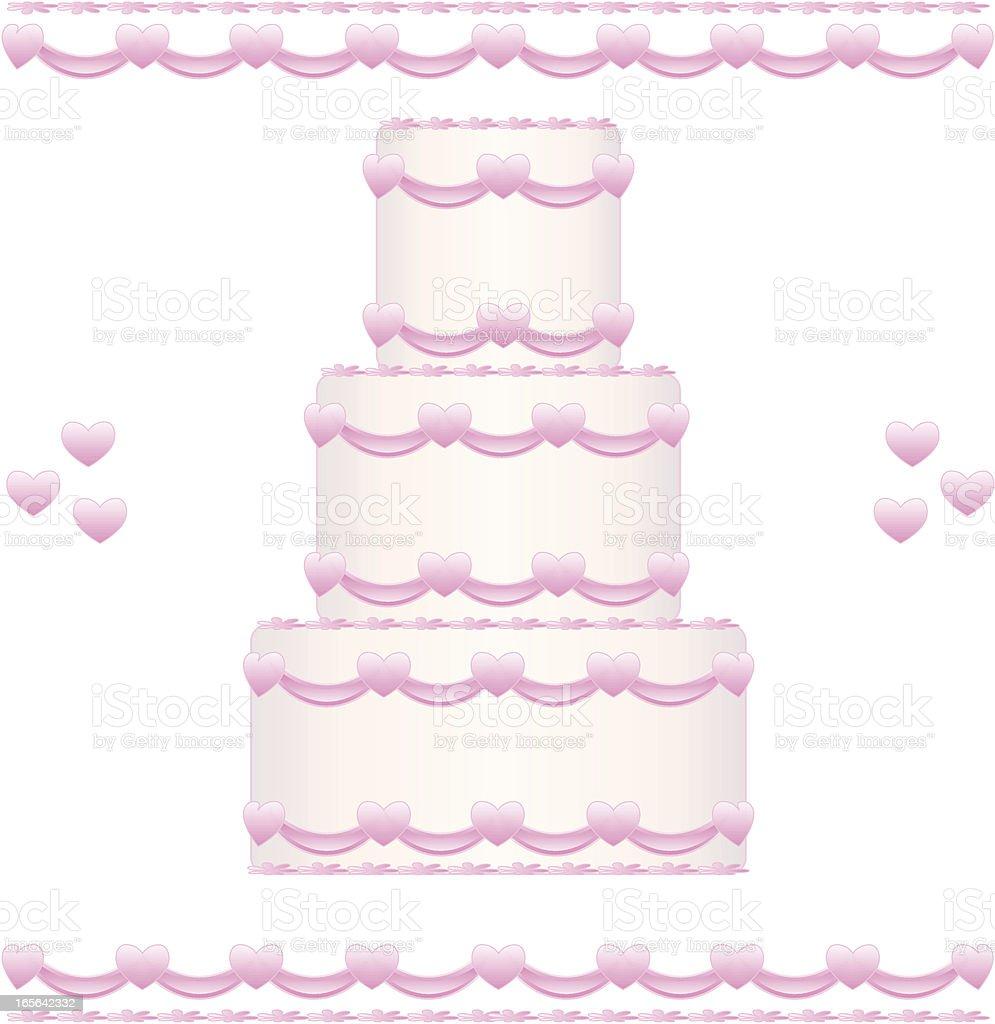 Hochzeitstorte mit rosa Herz-Design Lizenzfreies vektor illustration
