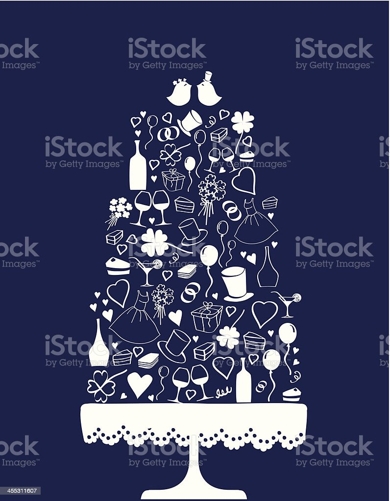 Wedding cake vector art illustration