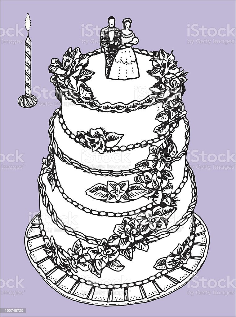 Wedding Cake with a Candle - Anniversary Celebration vector art illustration