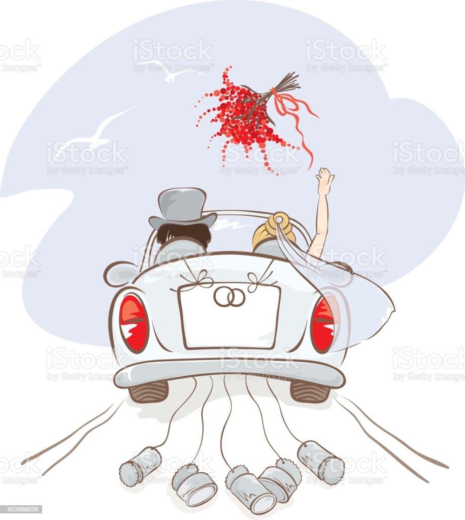 Wedding car vector art illustration