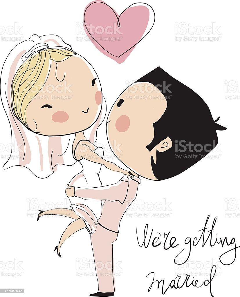 Wedding card. Bride and groom royalty-free stock vector art