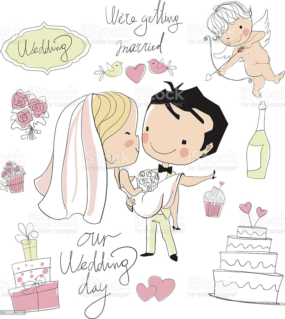 Wedding card. Bride and groom royalty-free stock vector art