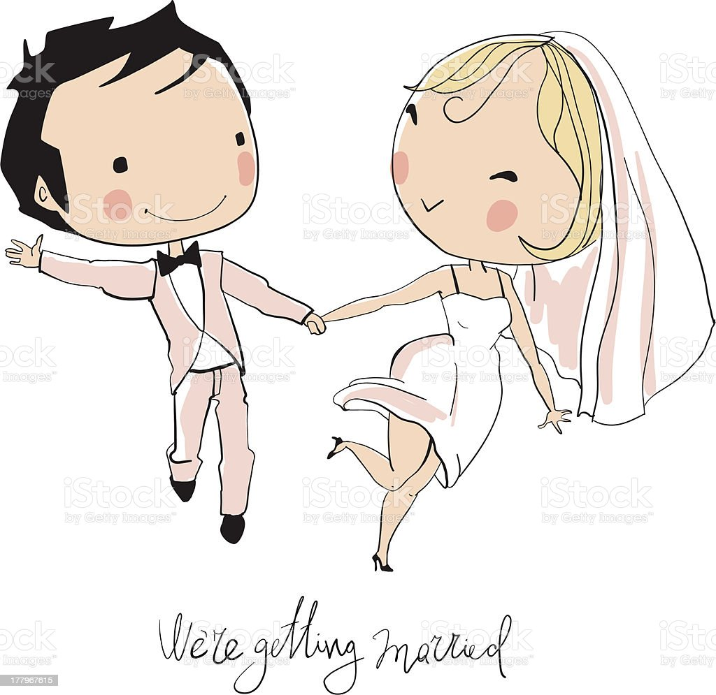 Wedding card of cartoon bride and groom announcing marriage royalty-free stock vector art