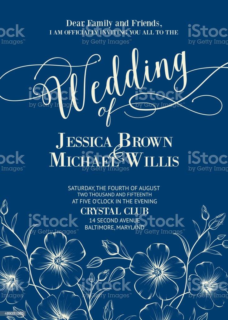 Wedding card template vector art illustration