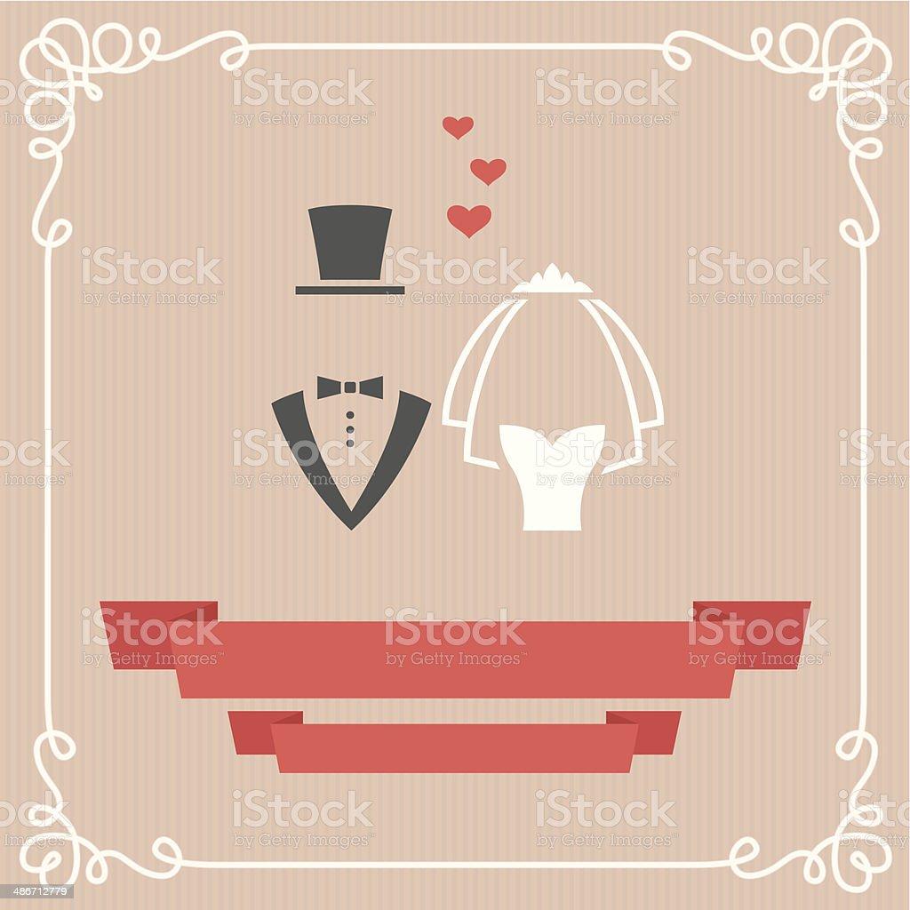 Wedding card vector art illustration