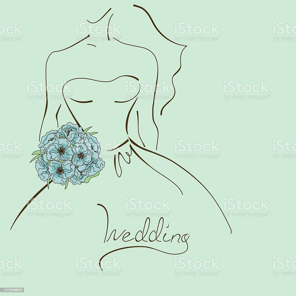 Wedding card with contour of bride vector art illustration