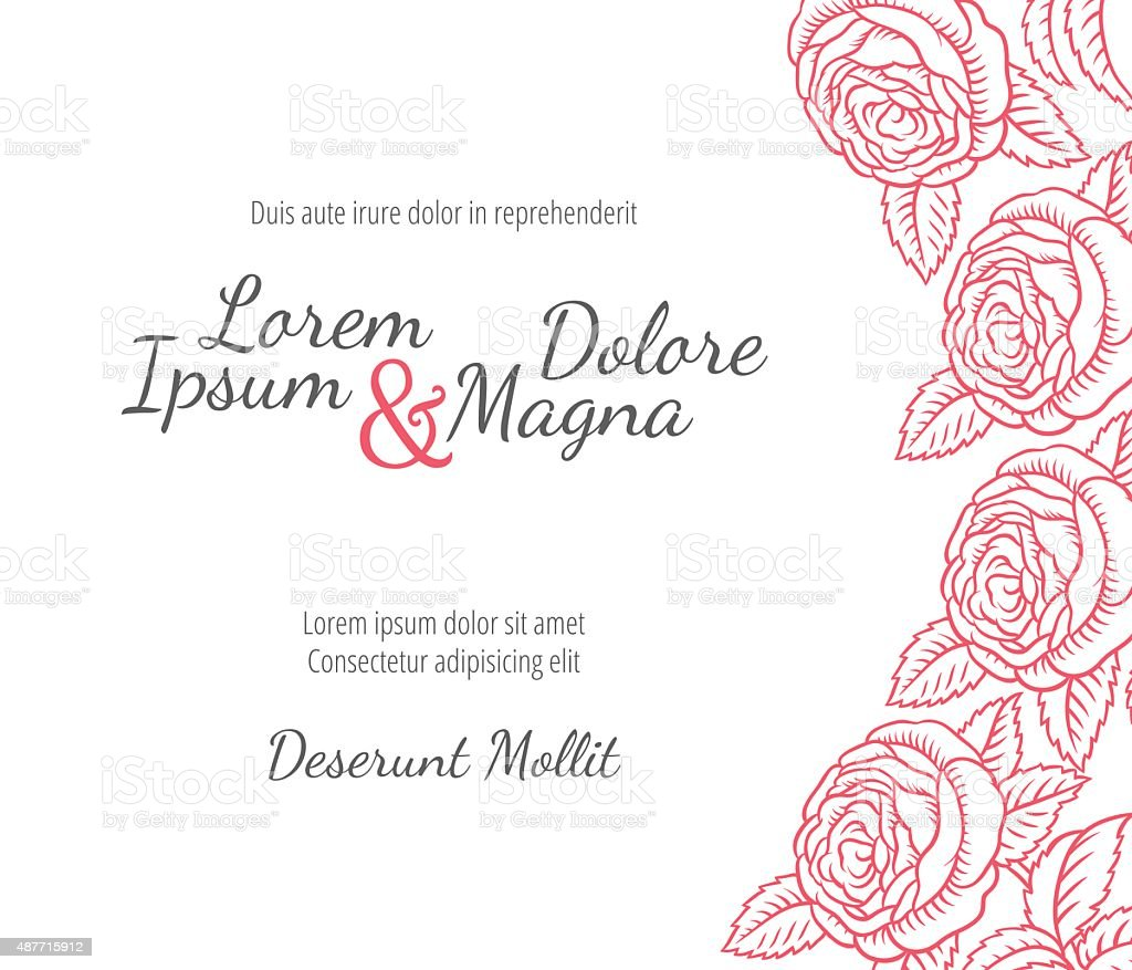 Wedding card with drawing roses in a classic retro style vector art illustration