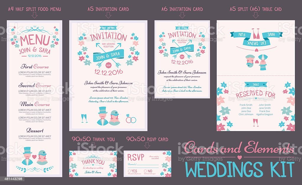Wedding Cards Collection vector art illustration