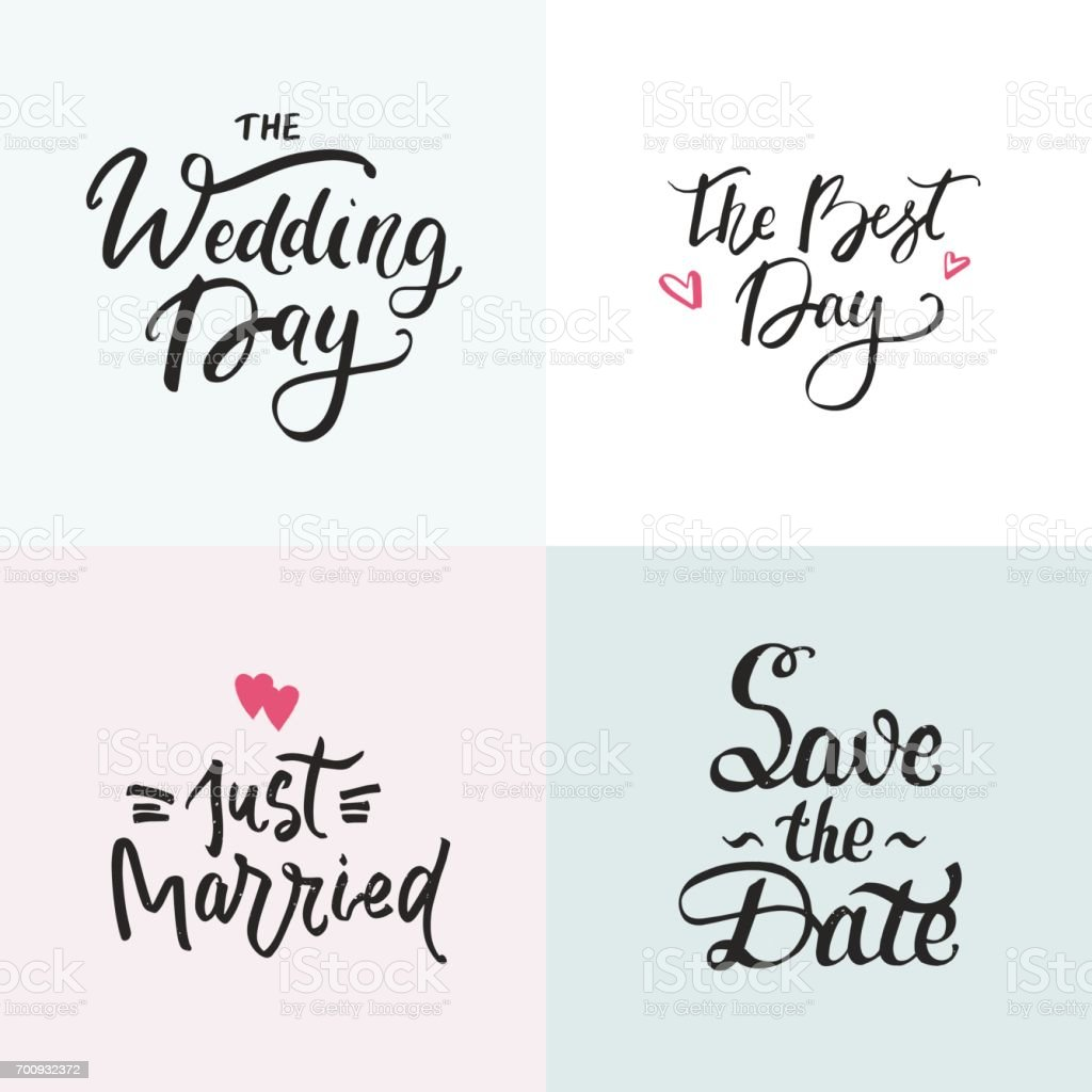 Wedding cards collection with handdrawn lettering. Phrase for wedding invitations. vector art illustration