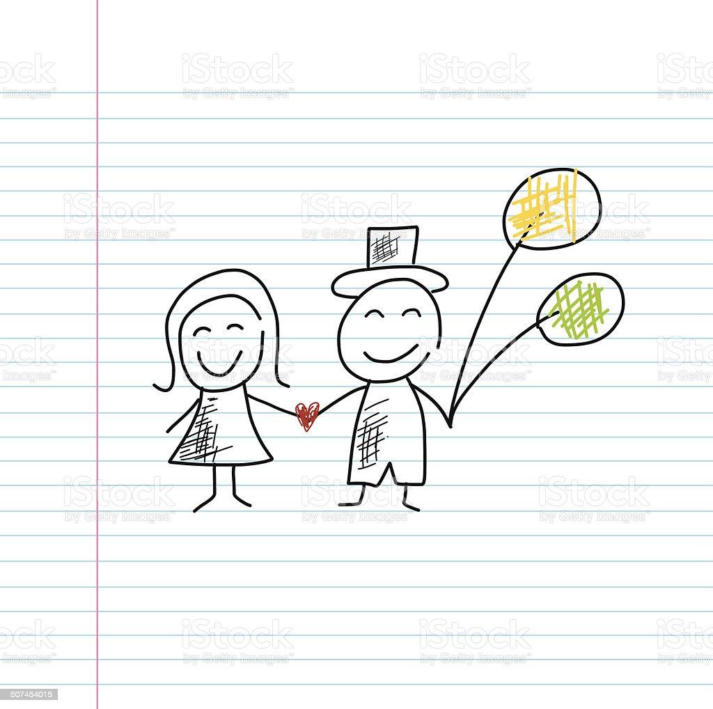 wedding cartoon  sketch vector art illustration