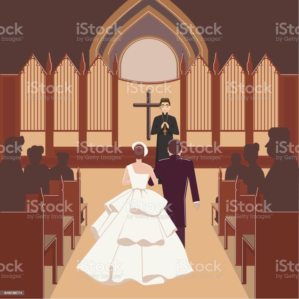 wedding ceremony inside church vector art illustration