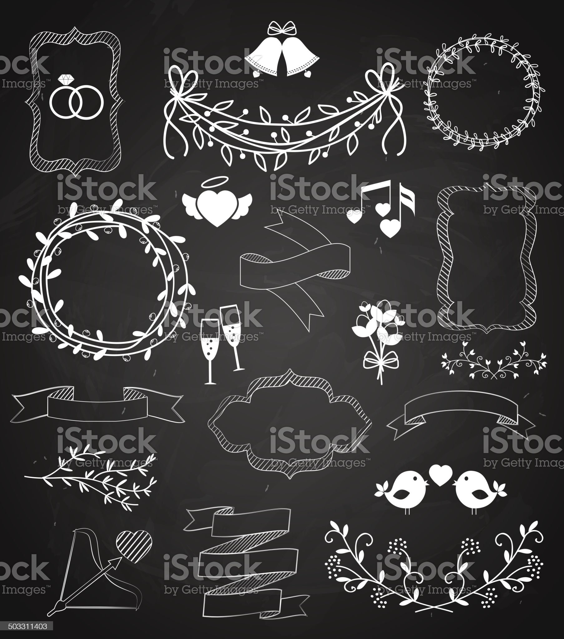 Wedding chalkboard Banners and Ribbons set royalty-free stock vector art