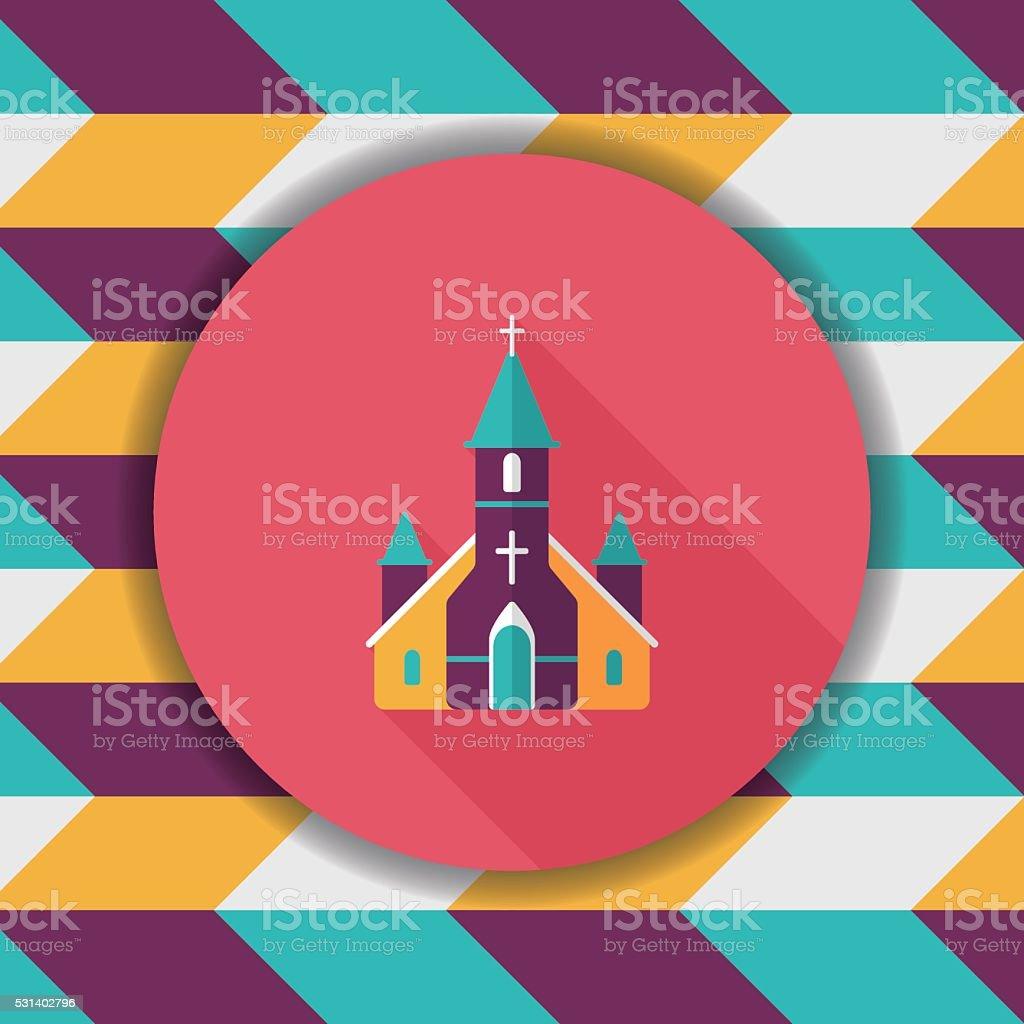 wedding church flat icon with long shadow,eps10 vector art illustration